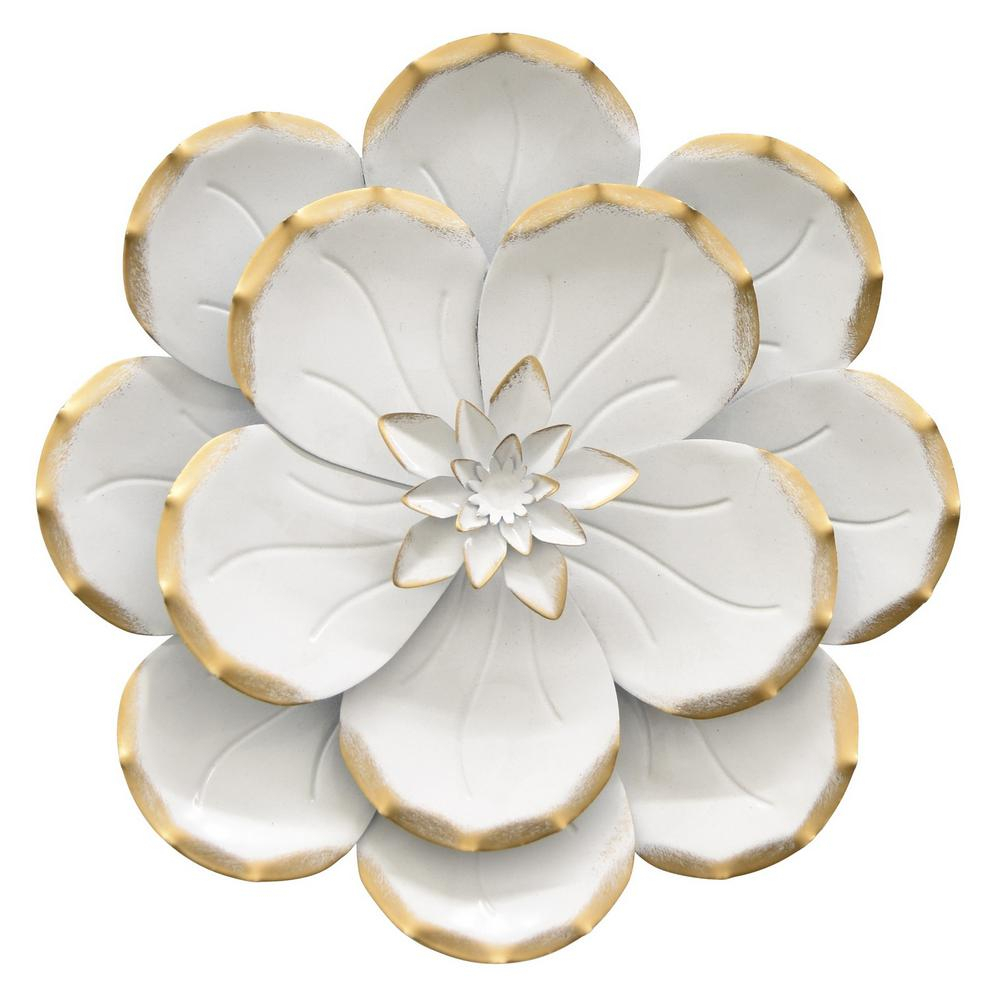 Preferred Three Hands 10.5 In. Metal Flower Wall Decor In White 10697 – The With Regard To Flower Wall Decor (Gallery 20 of 20)