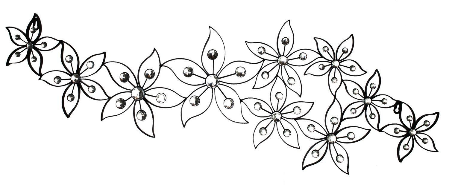 Raheem Flowers Metal Wall Decor Throughout 2020 Metal Wall Decor Floral Horizontalhome Source (View 11 of 20)