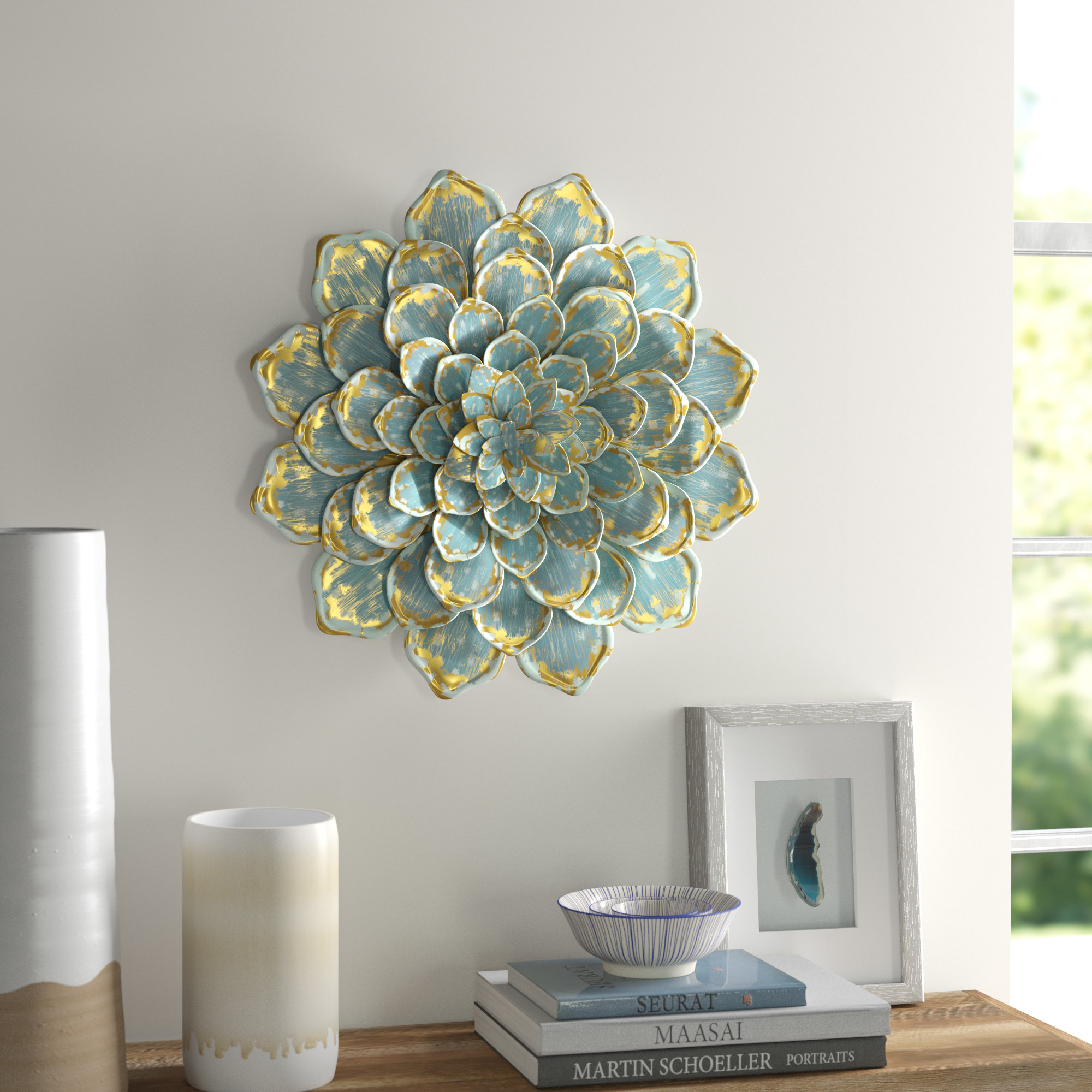 Raheem Flowers Metal Wall Decor Within Newest Mistana Multiple Layer Metal Flower Wall Décor & Reviews (View 13 of 20)