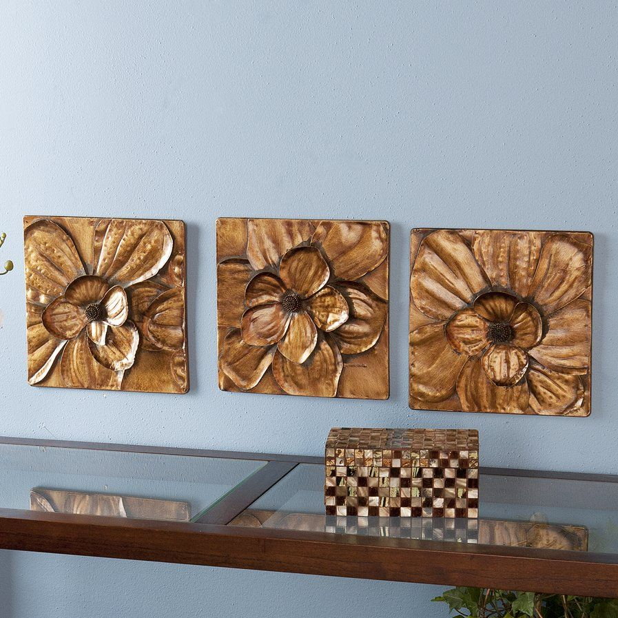 Recent 3 Piece Magnolia Brown Panel Wall Decor Sets With 3 Piece Magnolia Brown Panel Wall Décor Set (View 2 of 20)