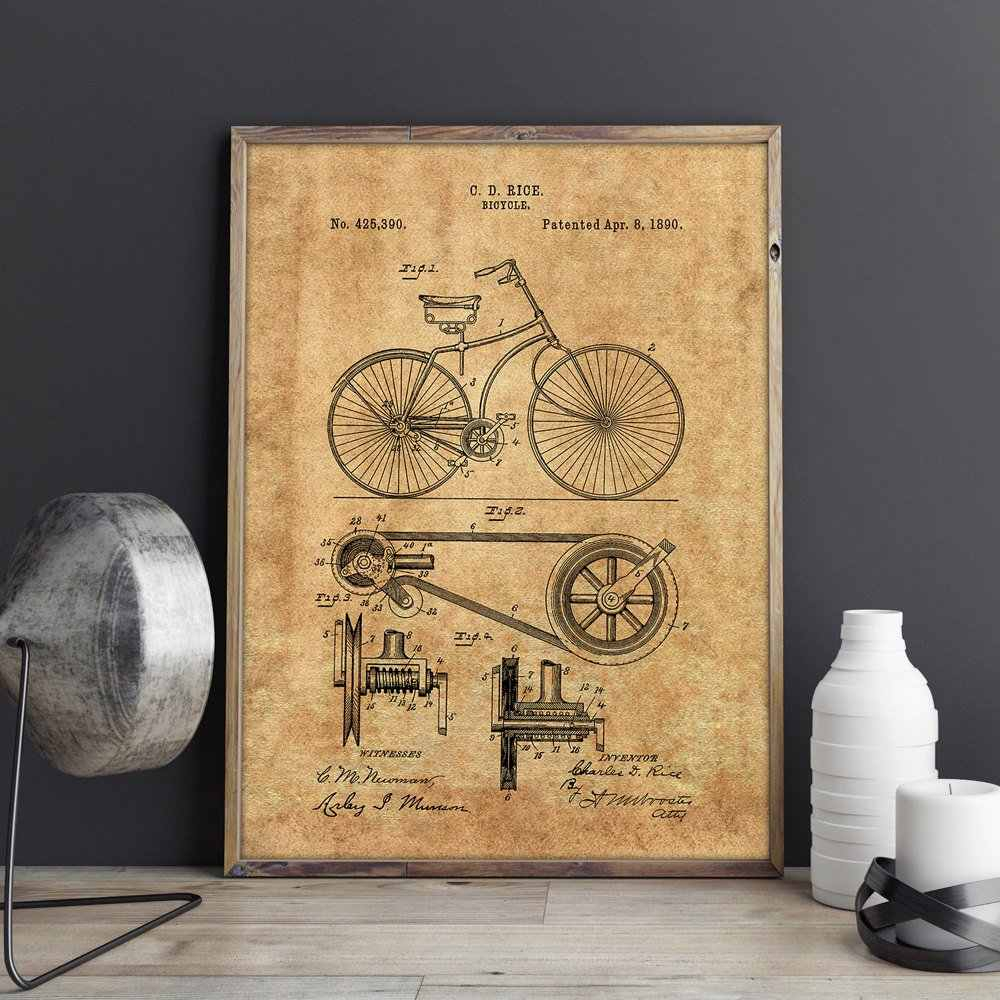 Recent Detail Feedback Questions About Bicycle Patent,cycling Artwork, Bike Pertaining To Bike Wall Decor (View 14 of 20)