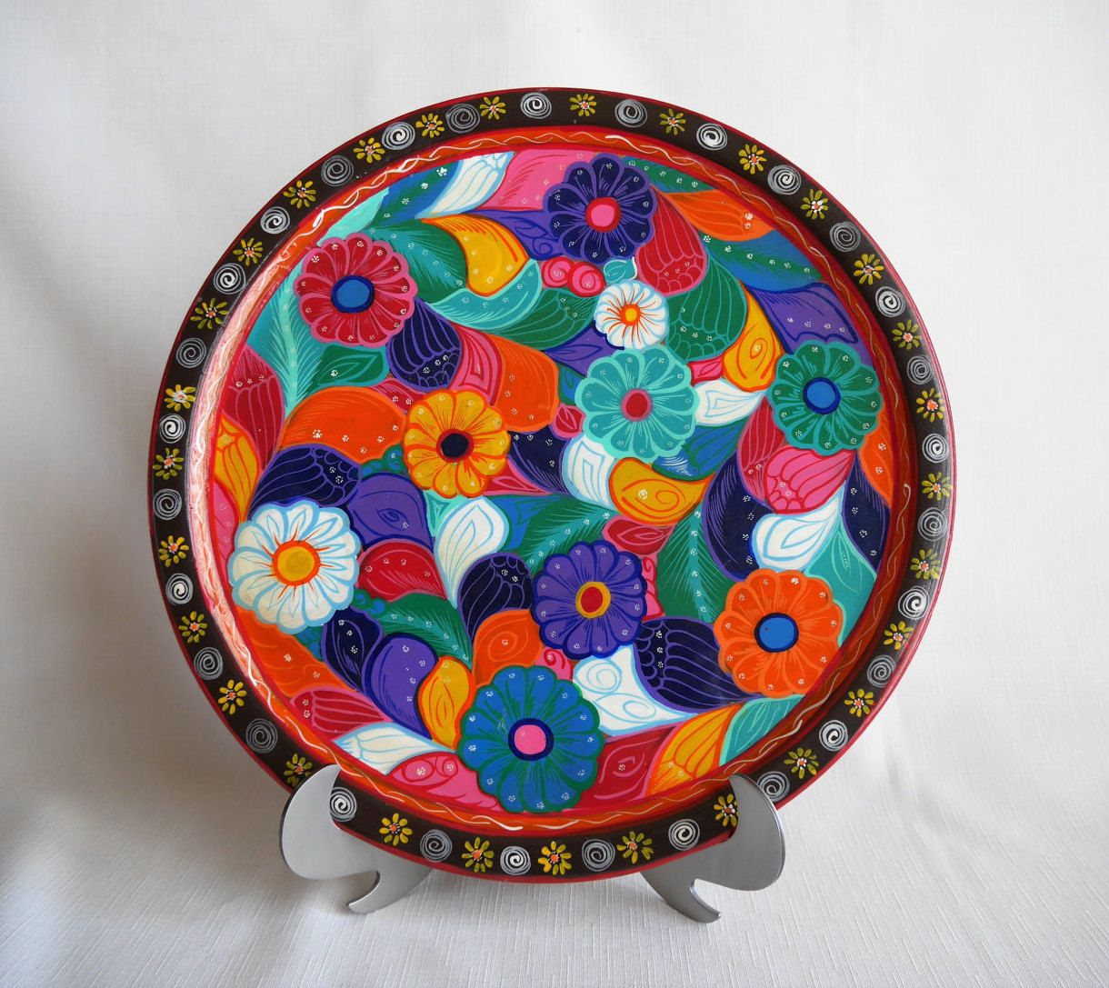 Recent Festive Wooden Mexican Floral Batea Platter, Plate, Tray, Multi Intended For Multi Plates Wall Decor (View 10 of 20)