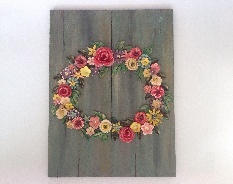 Recent Flower Wreath Ceramic Wreath Clay Wreath On Wood Romantic (Gallery 14 of 20)