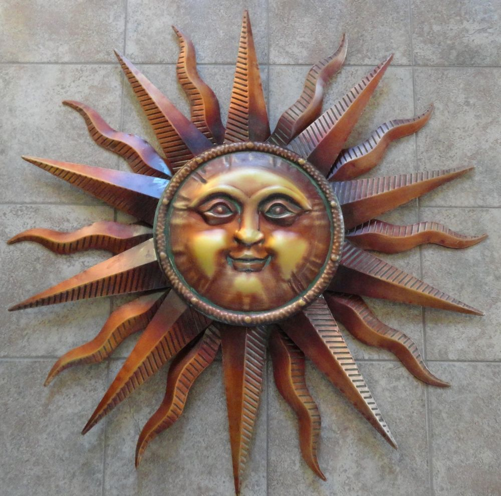 """Recycled Moon And Sun Wall Decor With Regard To Famous Large Copper Patina Sun Face Wall Hanging Metal Art Decor 38"""" Indoor (View 18 of 20)"""