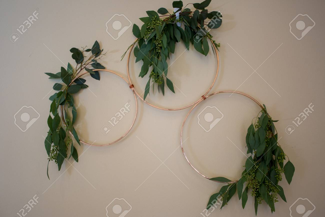 Rings Wall Decor Intended For Widely Used Wedding Wall Decor, Gold Rings With Green Leaves. Stock Photo (Gallery 10 of 20)