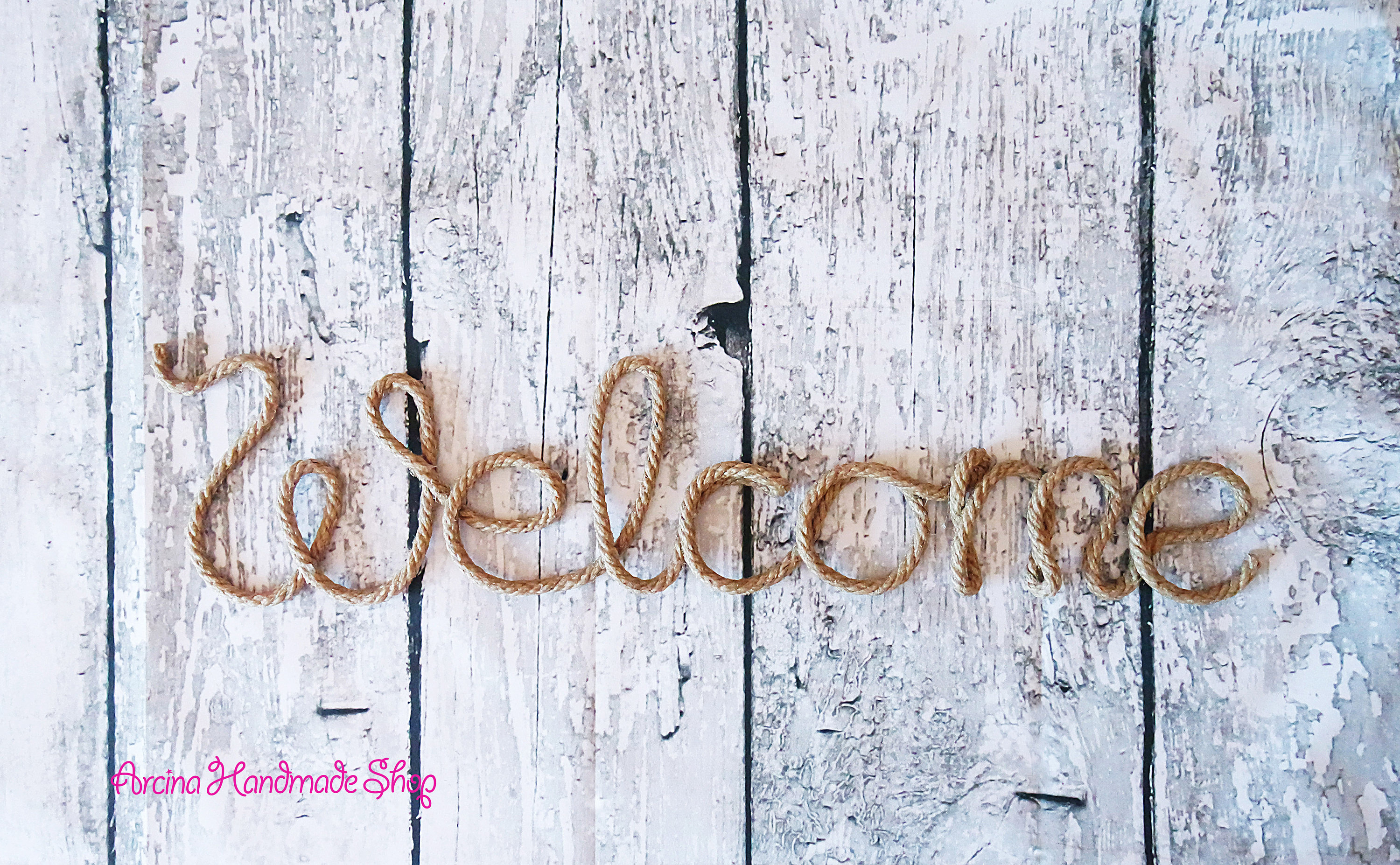 Rope Welcome Wall Sign Rustic Wall Letters Welcome Wall (View 13 of 20)