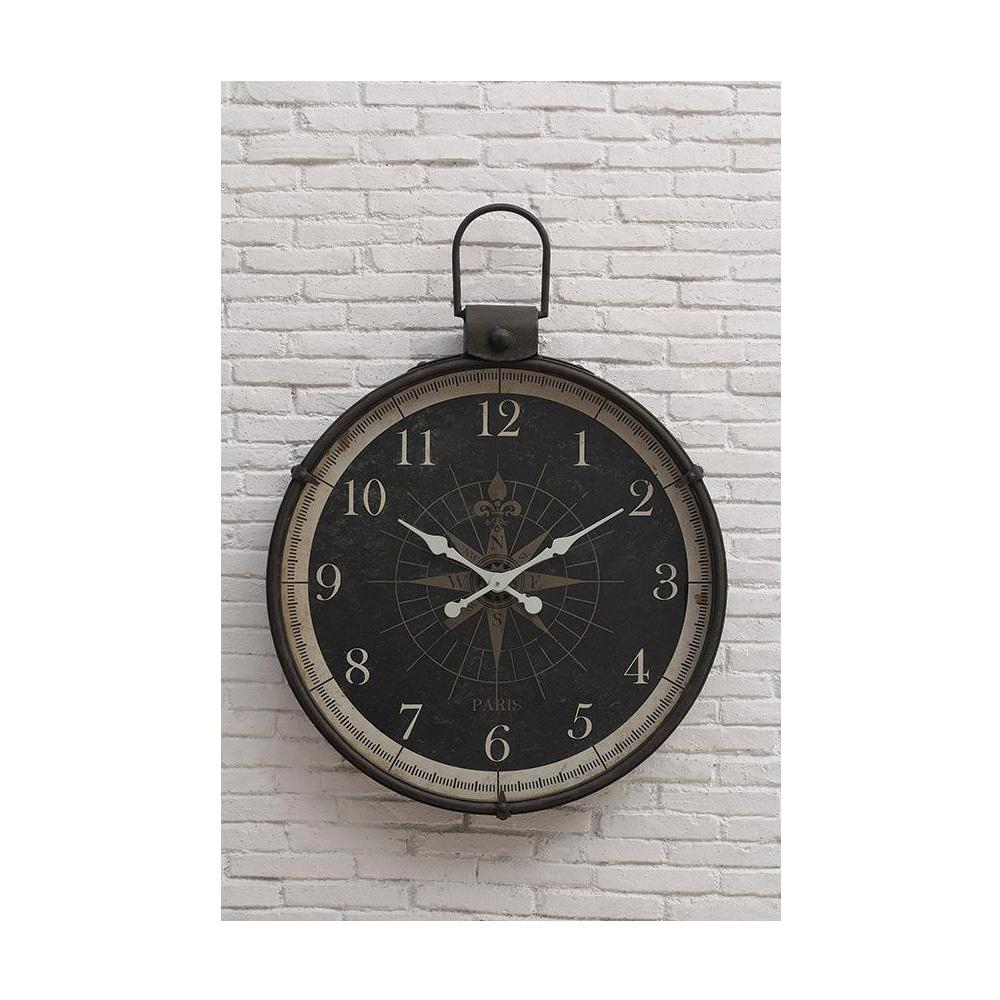 Round Compass Wall Decor With Regard To 2020 3R Studios Compass Round Wall Clock Da2097 – The Home Depot (Gallery 19 of 20)