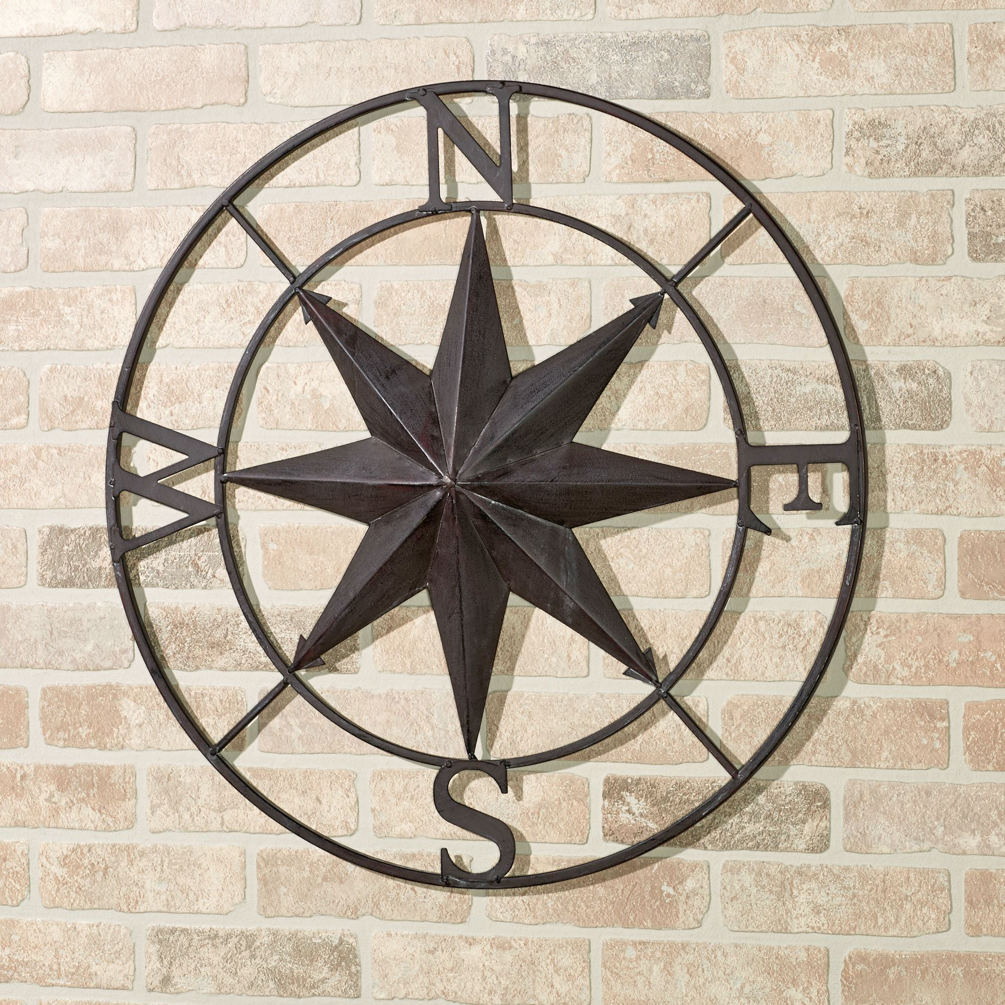 Round Compass Wall Decor With Regard To Well Known Earhart Indoor Outdoor Compass Wall Art (View 4 of 20)