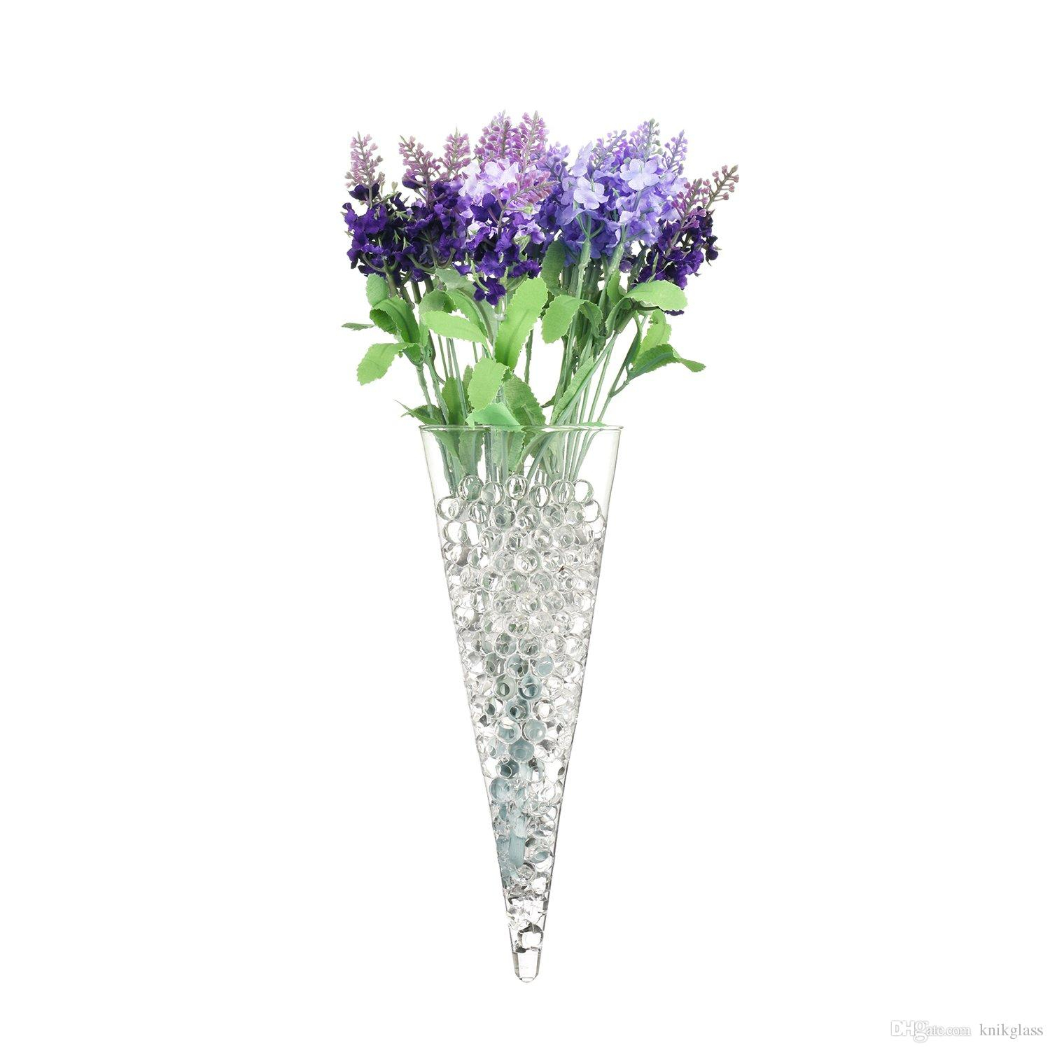 S/3 Cone Shape Glass Wall Vase For Water Plants Holders Wall Mounts Throughout Well Liked Three Glass Holder Wall Decor (Gallery 20 of 20)