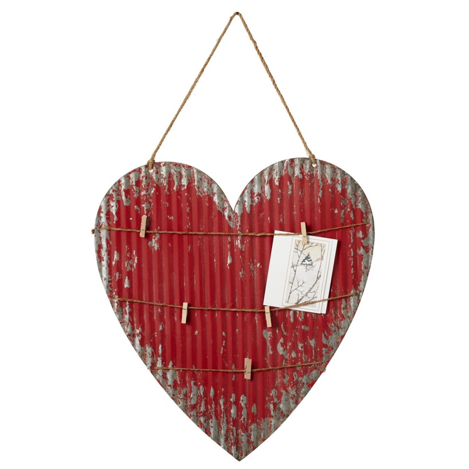 Set Of 2 Distressed Red Corrugated Heart Shaped Metal Message Board Throughout Well Known 2 Piece Heart Shaped Fan Wall Decor Sets (View 2 of 20)