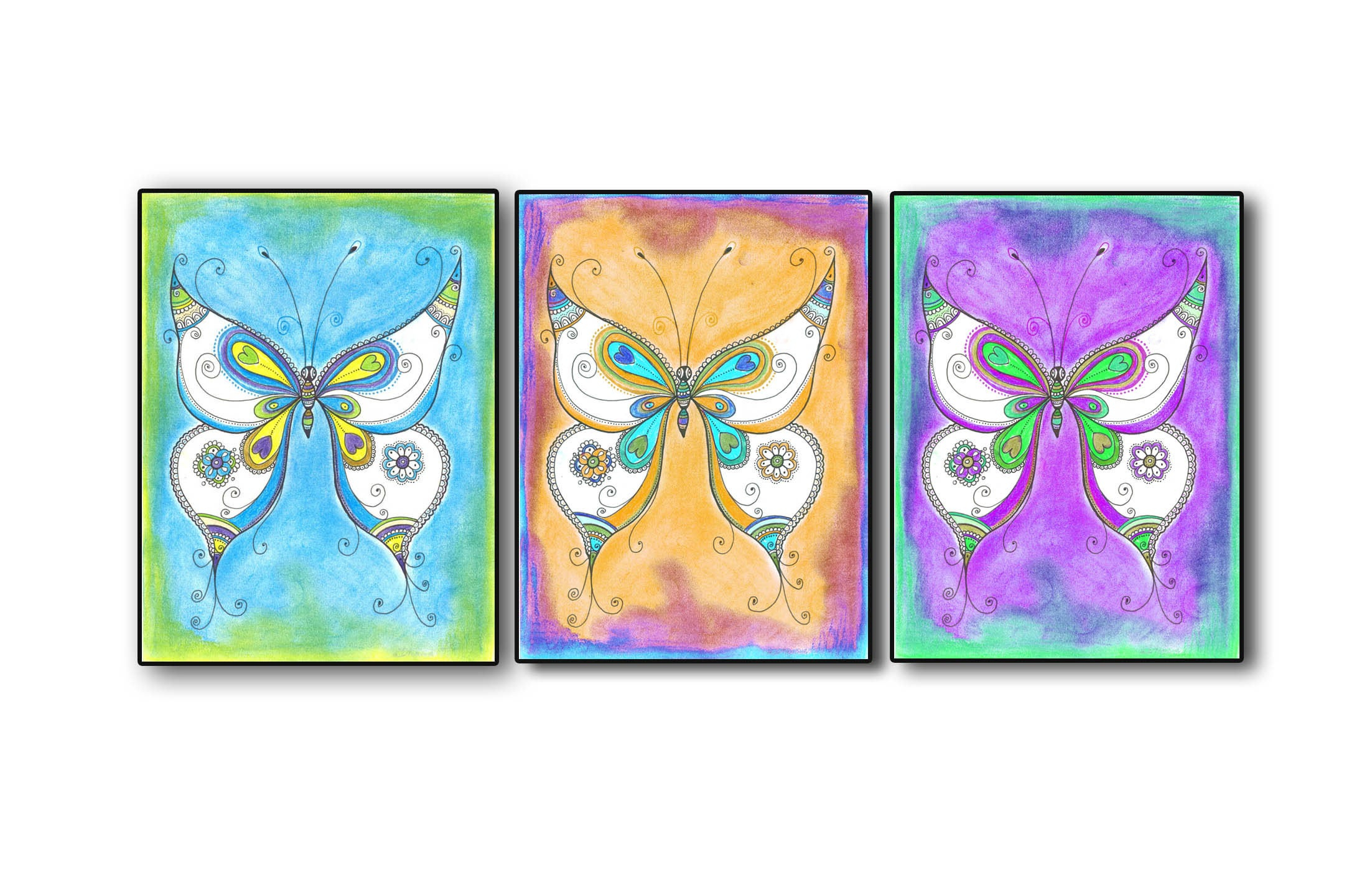 Set Of 3 Prints Butterflies Painting Children Room Wall Art (View 16 of 20)