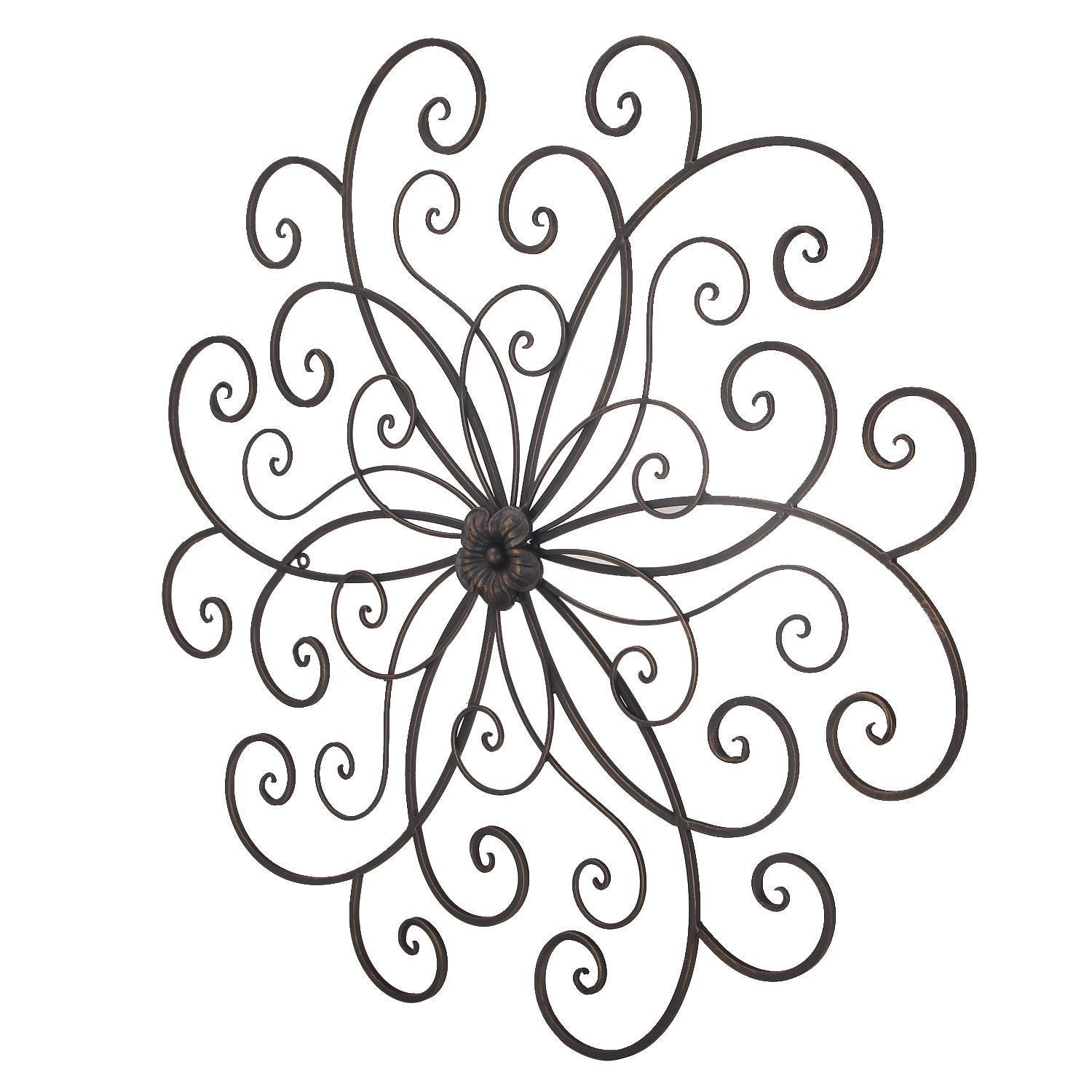 Shop Adeco Bronze Flower Urban Design Metal Wall Decor For Nature Inside Newest Flower Urban Design Metal Wall Decor (Gallery 10 of 20)