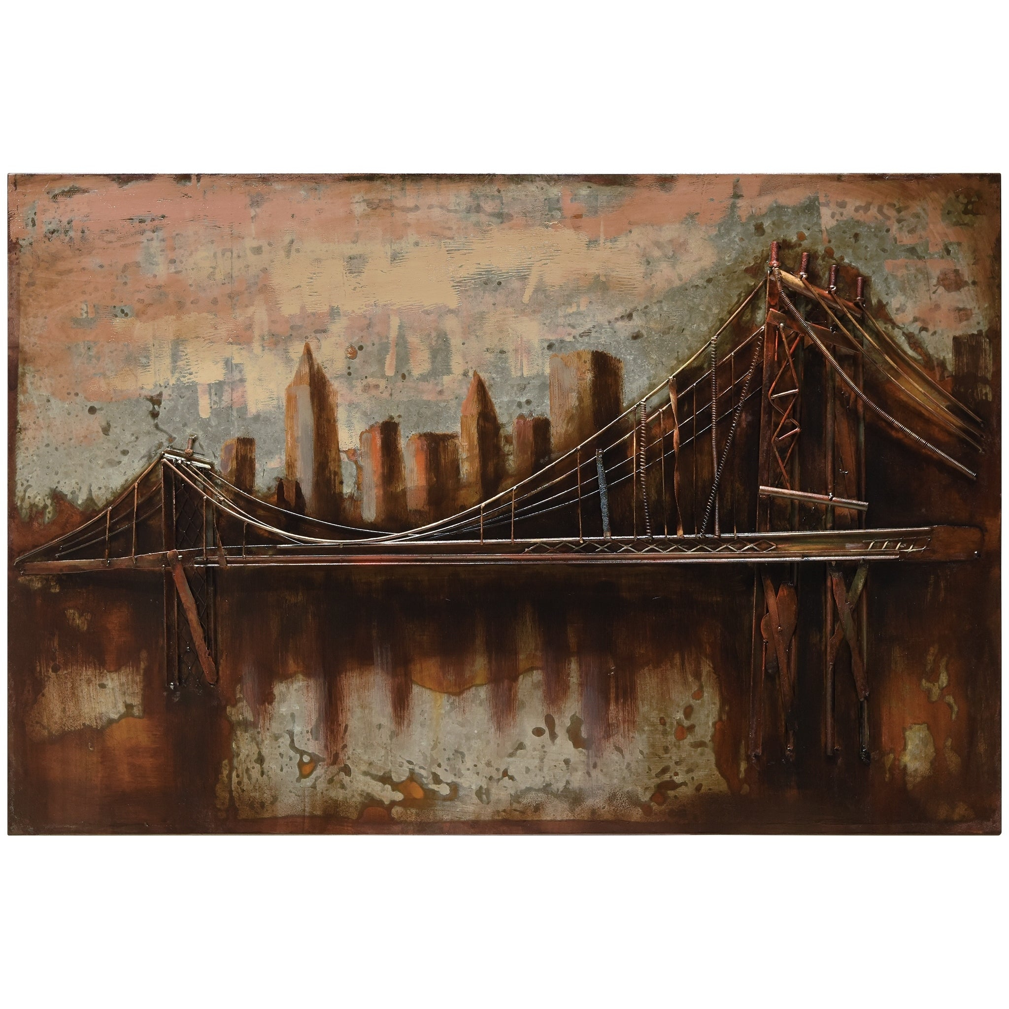 """Shop """"bridgescape"""" Mixed Media Iron Hand Painted Dimensional Wall Intended For 2020 """"bridge To The City"""" Mixed Media Iron Hand Painted Dimensional Wall Decor (Gallery 3 of 20)"""