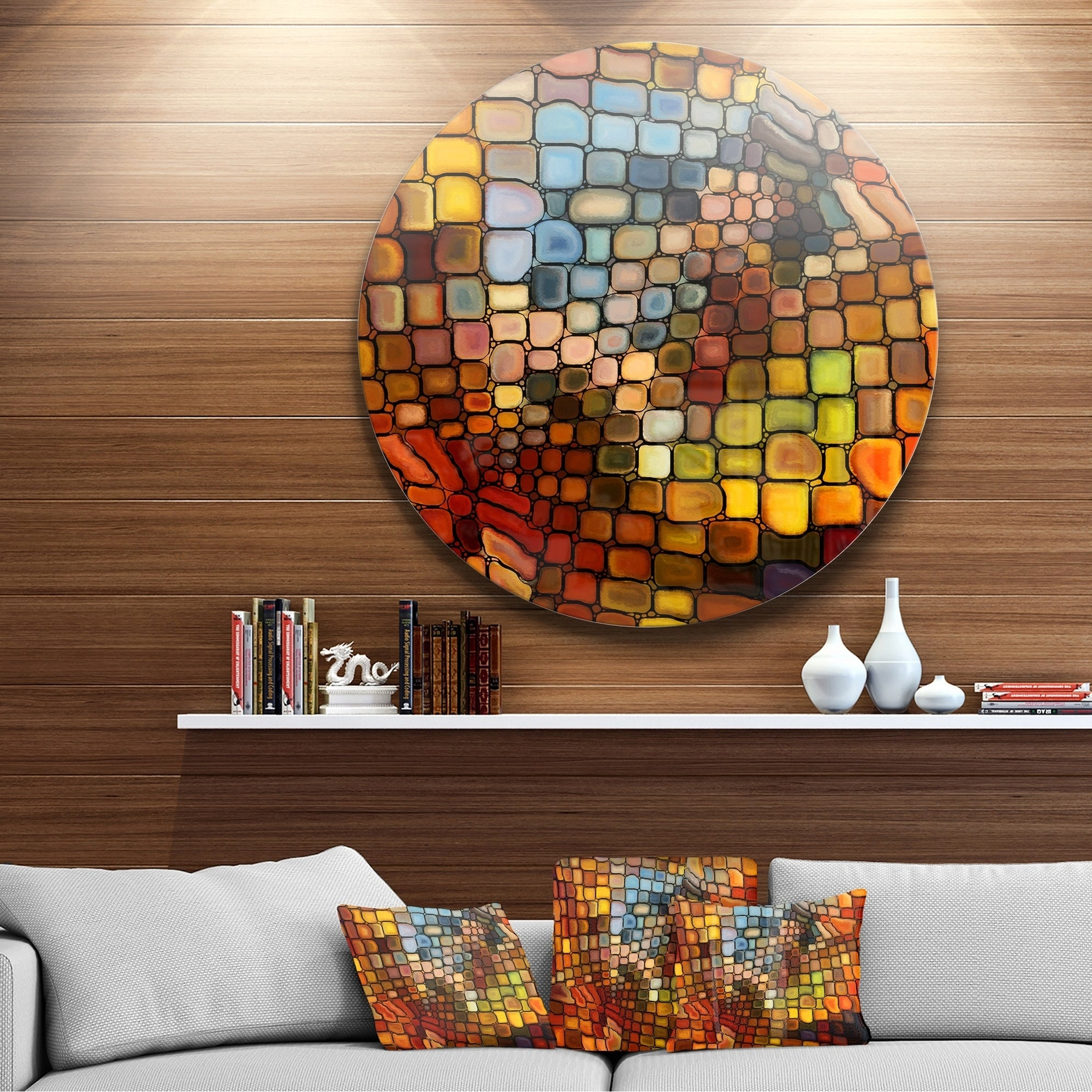 Shop Designart 'dreaming Of Stained Glass' Abstract Glossy Metal Inside Well Known Abstract Bar And Panel Wall Decor (Gallery 13 of 20)