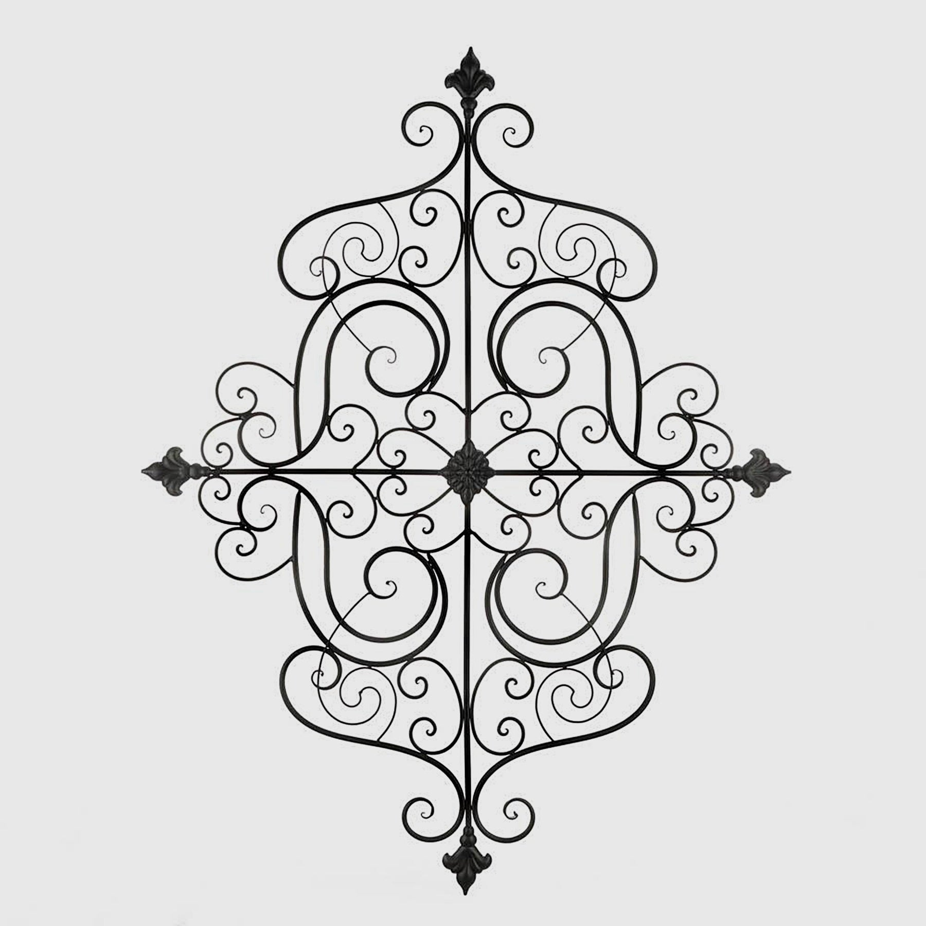 Shop Harmony Black Iron Artistic Scrolling Fleur De Lis Wall Art For Best And Newest 2 Piece Metal Wall Decor Sets By Fleur De Lis Living (Gallery 7 of 20)