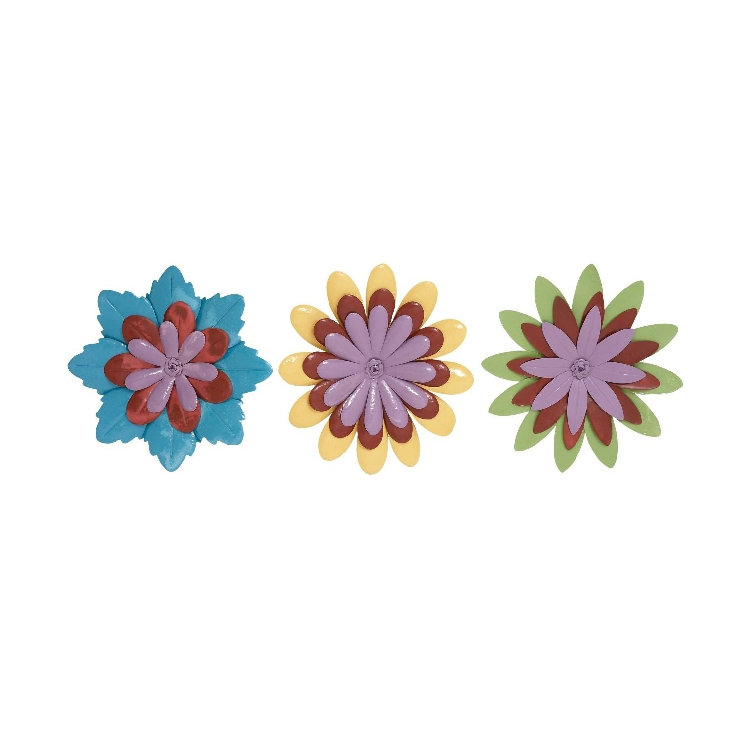 Shop Studio 350 Metal Flower Wall Decor Set Of 3, 24 Inches D – Free Within Trendy Metal Flower Wall Decor (Set Of 3) (Gallery 19 of 20)