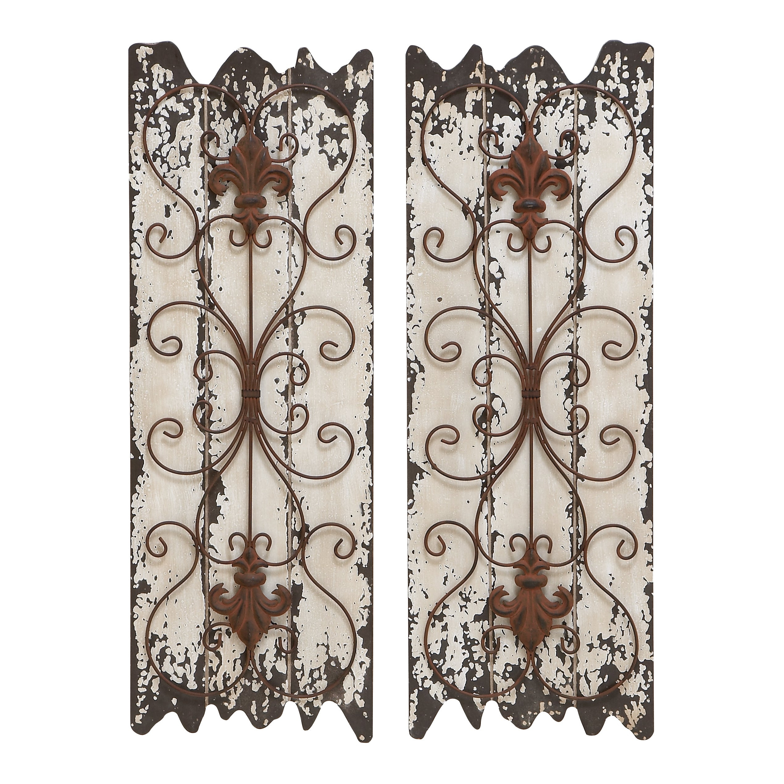 Shop Wood And Metal Wall Decor Panel (set Of 2) – White – On Sale Inside Widely Used 4 Piece Metal Wall Plaque Decor Sets (View 15 of 20)