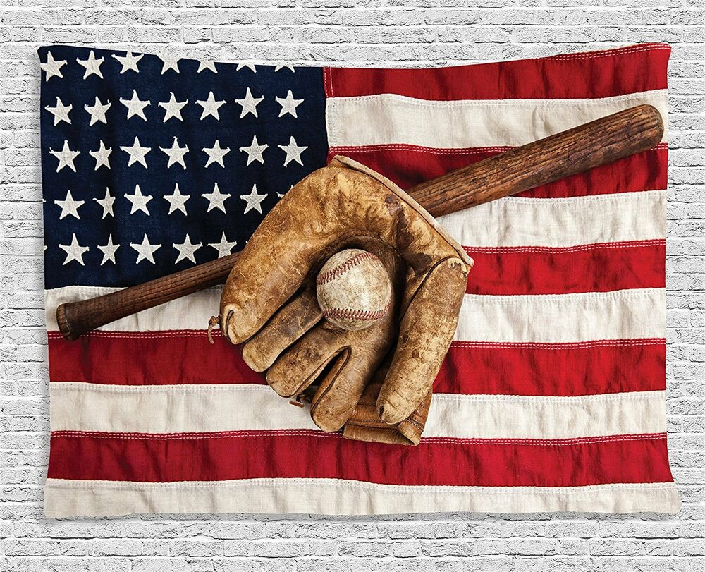 Sports Decor Tapestry Wall Art Hanging Dorm Vintage Baseball Usa In Most Current American Pride 3D Wall Decor (Gallery 13 of 20)