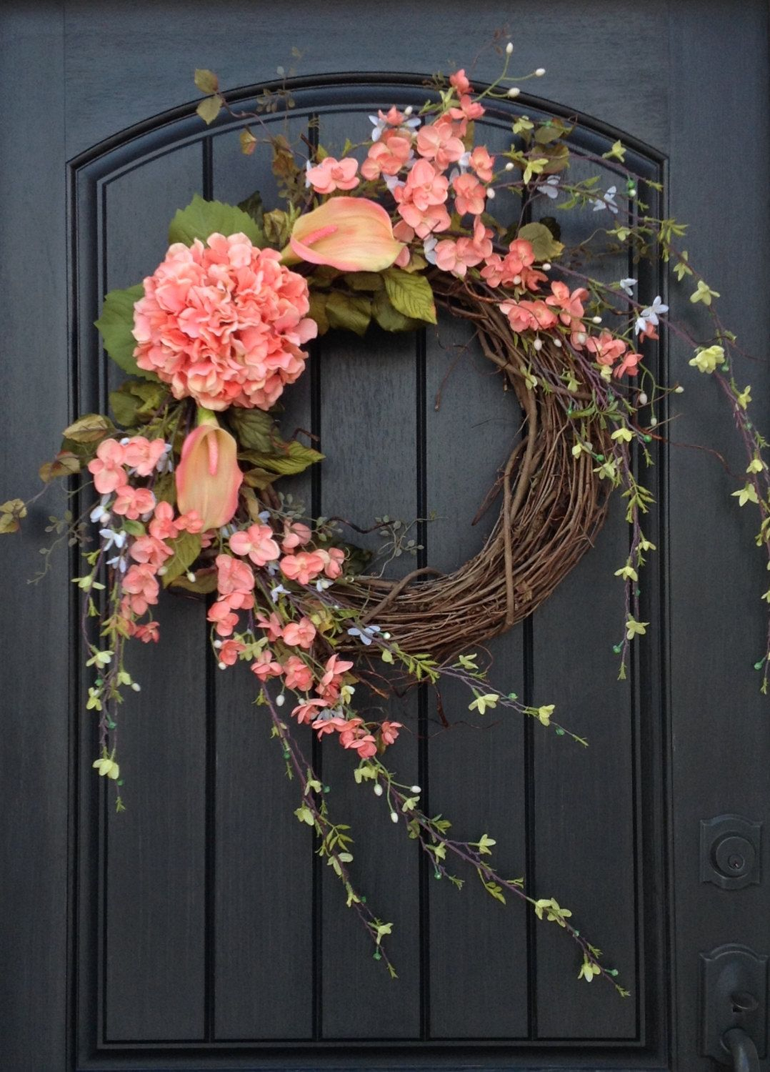 Spring Wreath Summer Wreath Floral White Green Branches Door Wreath Intended For Preferred Floral Patterned Over The Door Wall Decor (View 9 of 20)