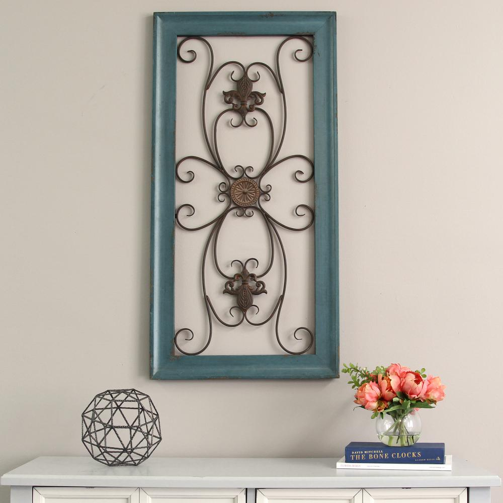 Stratton Home Decor Blue Scroll Gate Metal Wall Decor S09572 – The Within Most Current Scroll Panel Wall Decor (View 15 of 20)