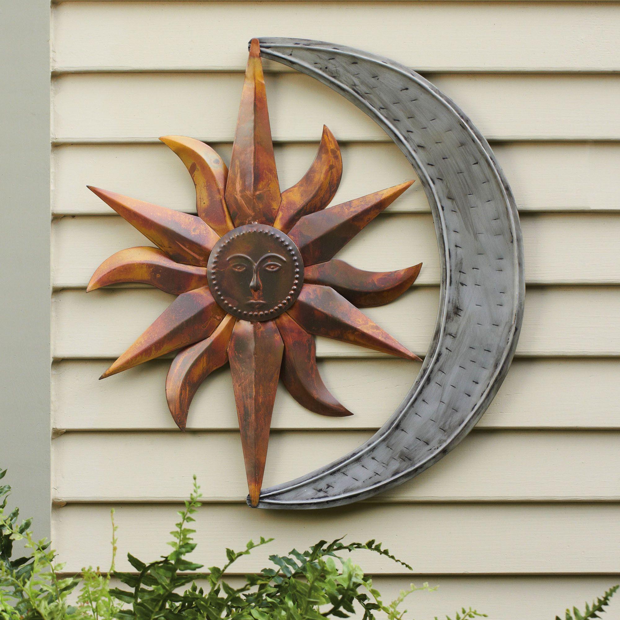 Sun And Moon Indoor Outdoor Metal Wall Art In  (View 16 of 20)