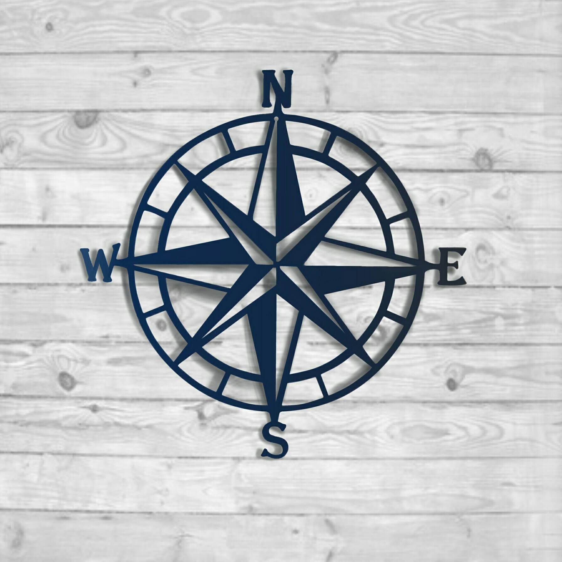 Textured Navy: Nautical Compass – Nautical Wall Art – Metal Wall Art Regarding Most Recent Outdoor Metal Wall Compass (Gallery 3 of 20)