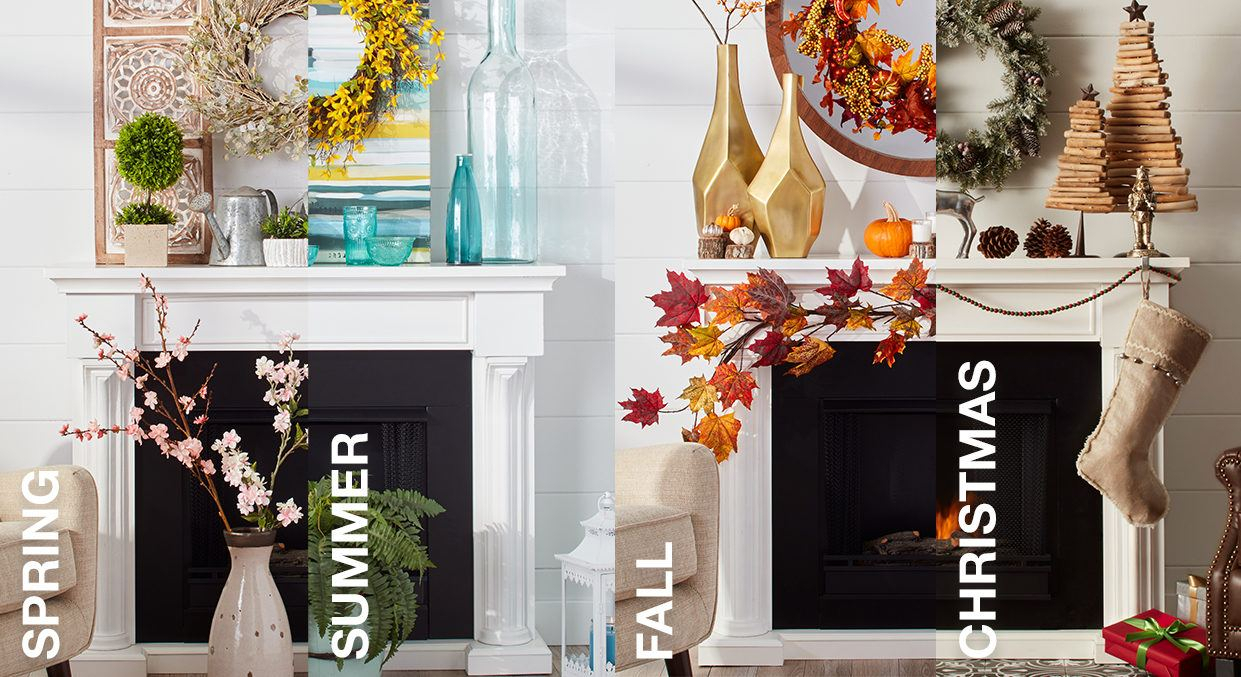 Three Flowers On Vine Wall Decor In Well Known Mantel Decorating Ideasseason (Gallery 13 of 20)
