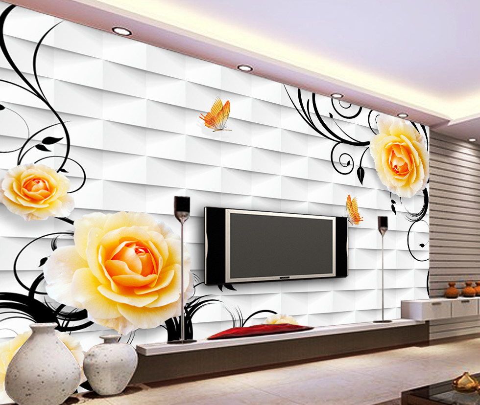 Three Flowers On Vine Wall Decor Inside Most Recent Tima Decor – 3D Wallpaper (Gallery 17 of 20)