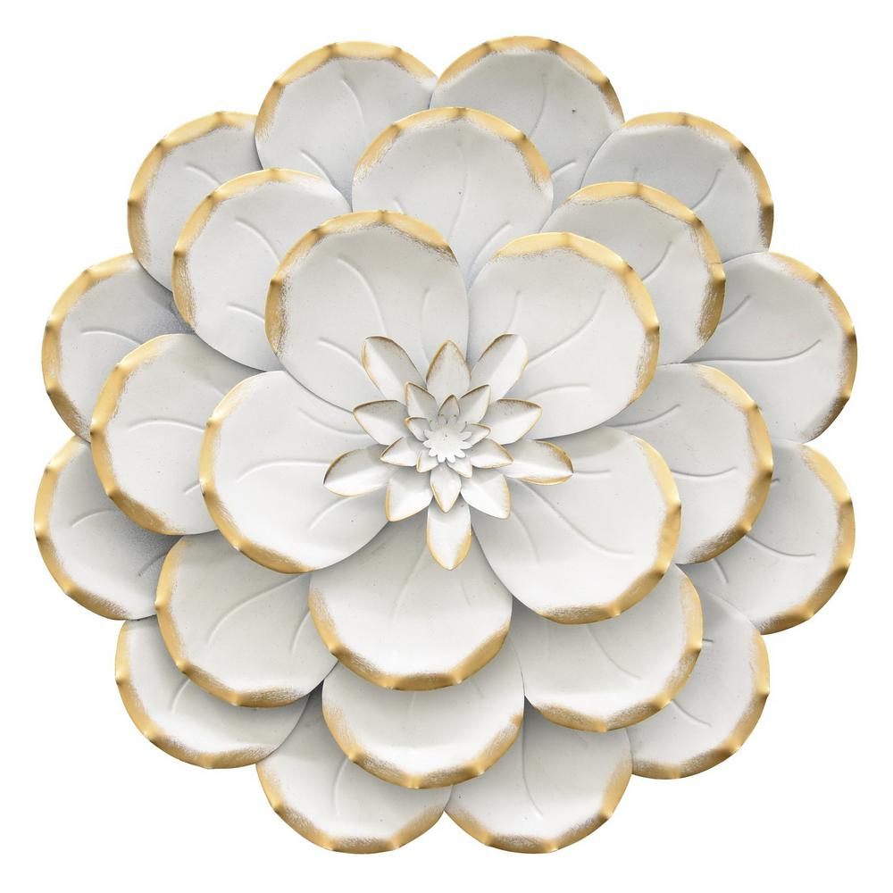 Three Flowers On Vine Wall Decor Intended For Famous Three Hands 13 In. Metal Flower Wall Decor In White 10696 – The Home (Gallery 11 of 20)