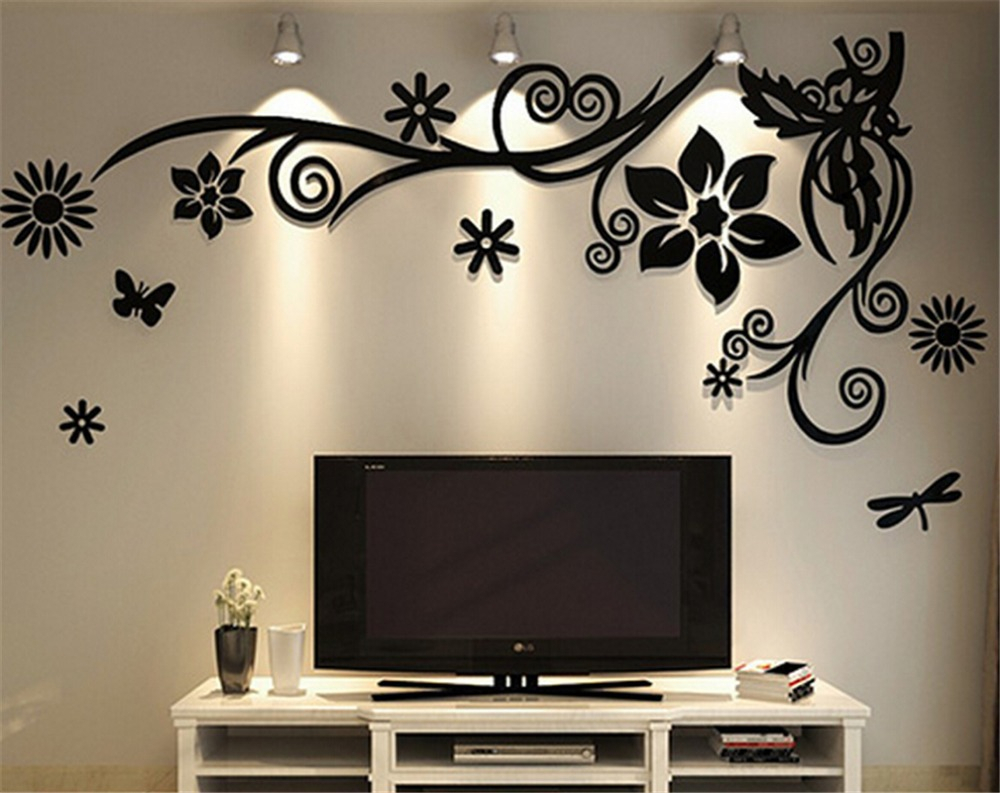 Three Flowers On Vine Wall Decor Intended For Well Known 3D Three Dimensional Crystal Acrylic Wall Stickers Home Decor Living (Gallery 7 of 20)