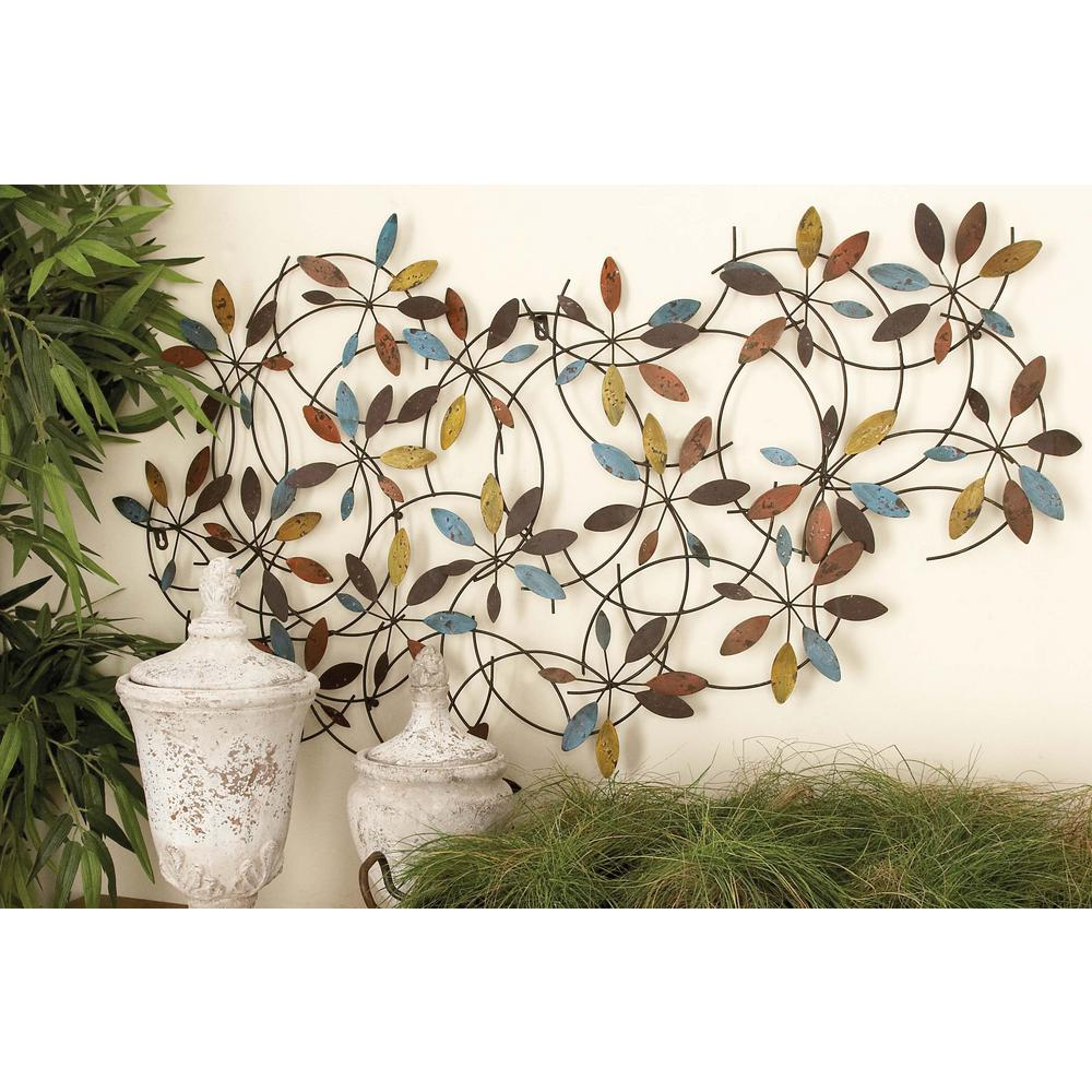 Three Flowers On Vine Wall Decor With Regard To Recent Litton Lane 44 In. X 28 In. New Traditional Multi Colored Leaf And (Gallery 8 of 20)