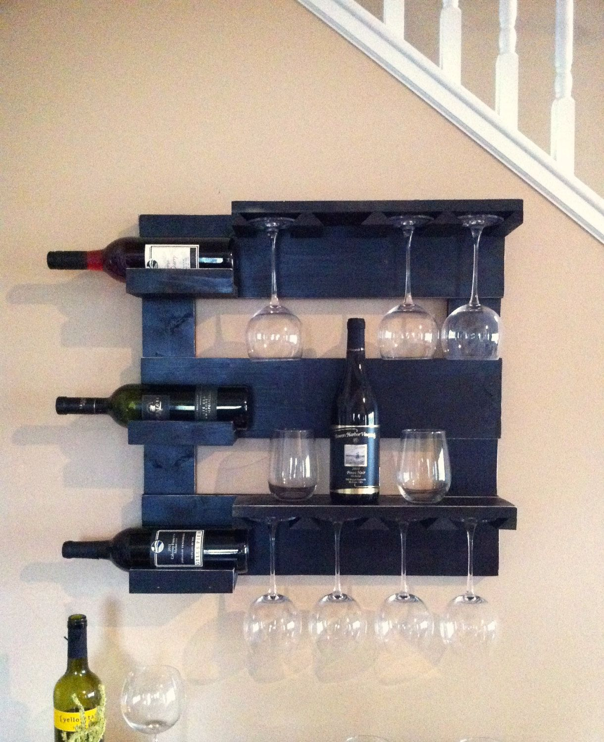 Three Glass Holder Wall Decor In Favorite Black Wine Rack, Wine Storage, Wine Glass Holder, Bar Shelf, Kitchen (Gallery 2 of 20)