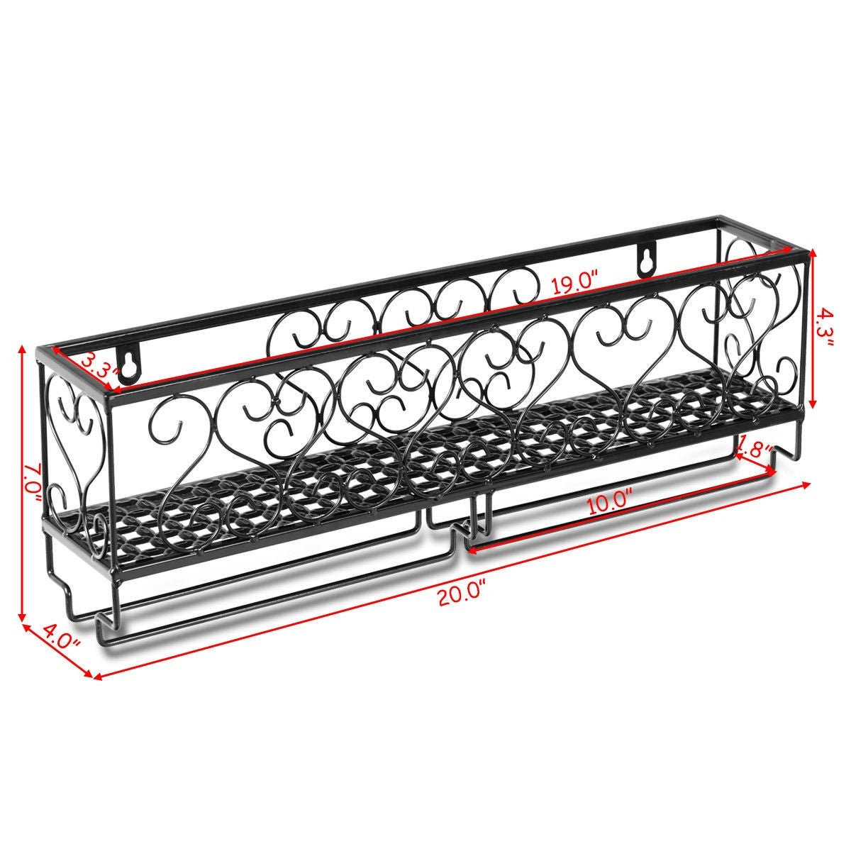 Three Glass Holder Wall Decor Throughout Latest Shop Wall Mounted Metal Wine Rack Wine Bottle Storage W/ Glass (Gallery 15 of 20)