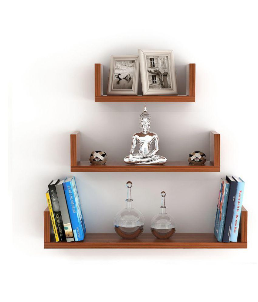 Three Glass Holder Wall Decor With Well Known Bluewud Caesar Wall Decor Book Shelf/wall Display Rack (3 Shelves (Gallery 19 of 20)