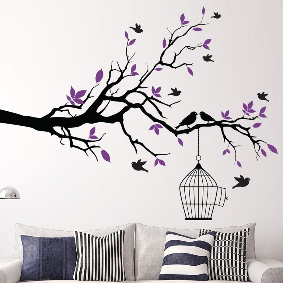 Tree Branch Wall Art Sticker With Bird Cage Removable Vinyl Wall Pertaining To Most Recent Birds On A Branch Wall Decor (View 4 of 20)