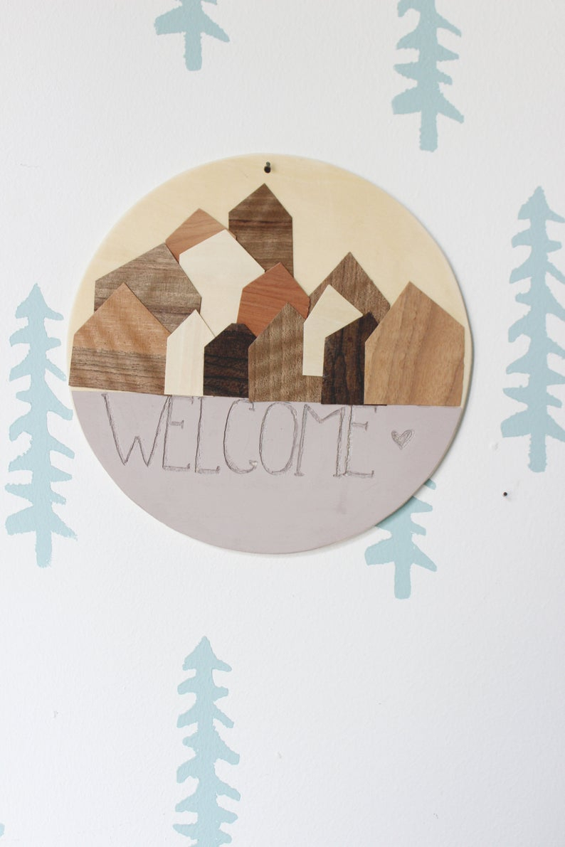 Tree Welcome Sign Wall Decor Throughout Most Popular Wooden Decoration Welcome Sign Entrance Decor Pink (Gallery 7 of 20)