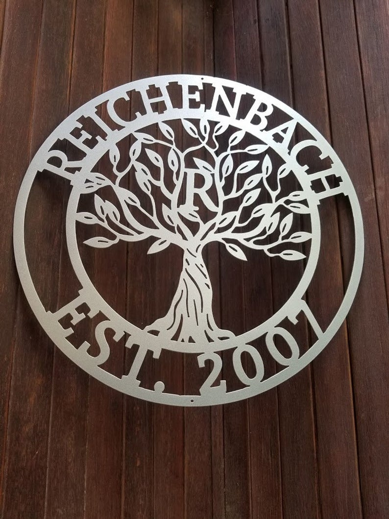 Tree Welcome Sign Wall Decor Within Popular Family Name Sign Tree Of Life Sign Wall Decor Plasma Cut (Gallery 4 of 20)