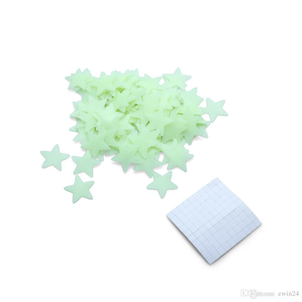 Trendy 3 Piece Star Wall Decor Sets Throughout Glow In The Dark Stars Space Stellar Wall Decals Stickers For Kids (View 14 of 20)