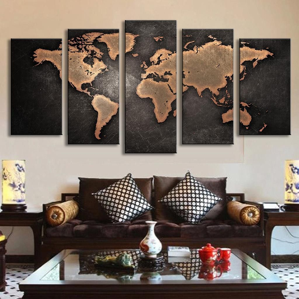 Trendy Abstract Bar And Panel Wall Decor With Regard To 5 Pcs Modern Abstract Wall Art Painting World Map Canvas Painting (View 19 of 20)