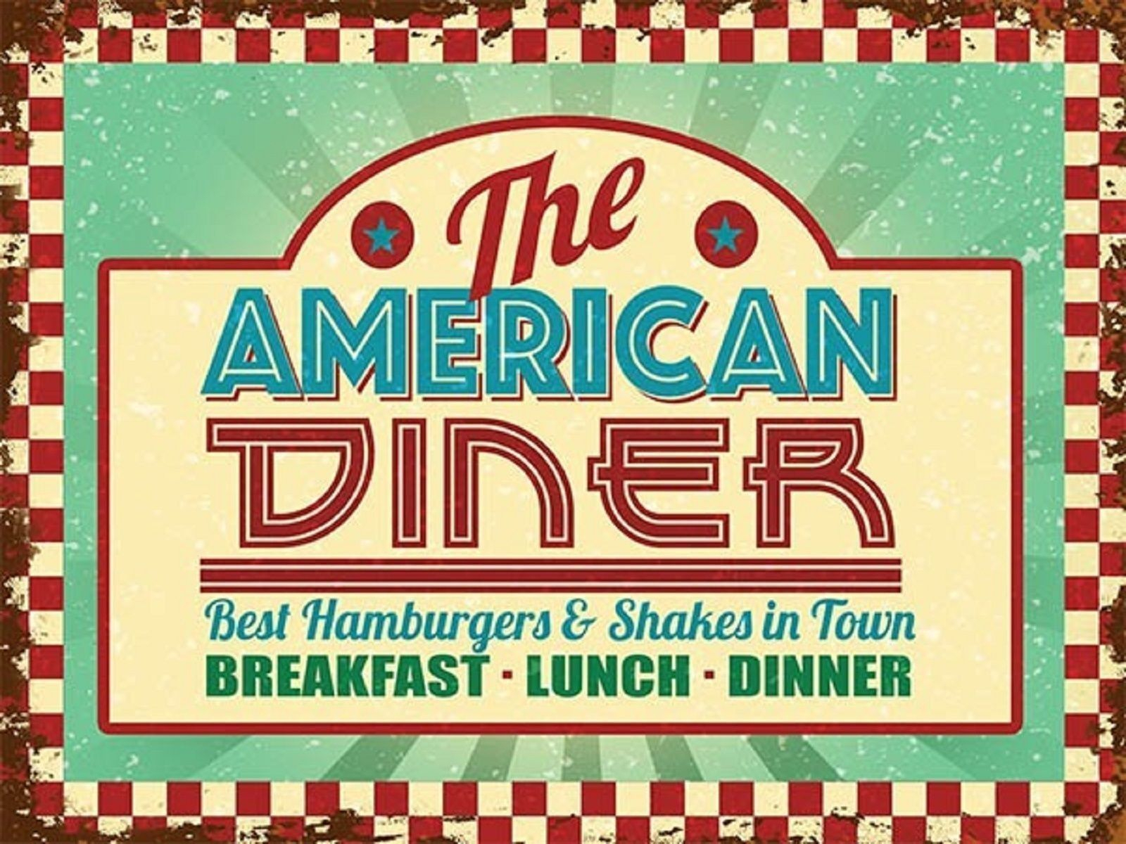 Trendy Casual Country Eat Here Retro Wall Decor With Regard To Details About American Diner, 50's Retro Food Classic Old Route  (View 15 of 20)