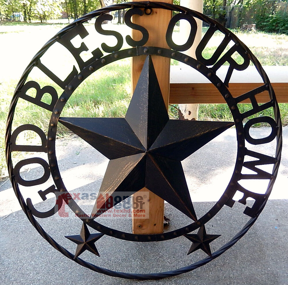 Trendy God Bless Our Home Metal Barn Star Rustic Brown Texas Rope Ring Wall Within Metal Rope Wall Sign Wall Decor (View 14 of 20)