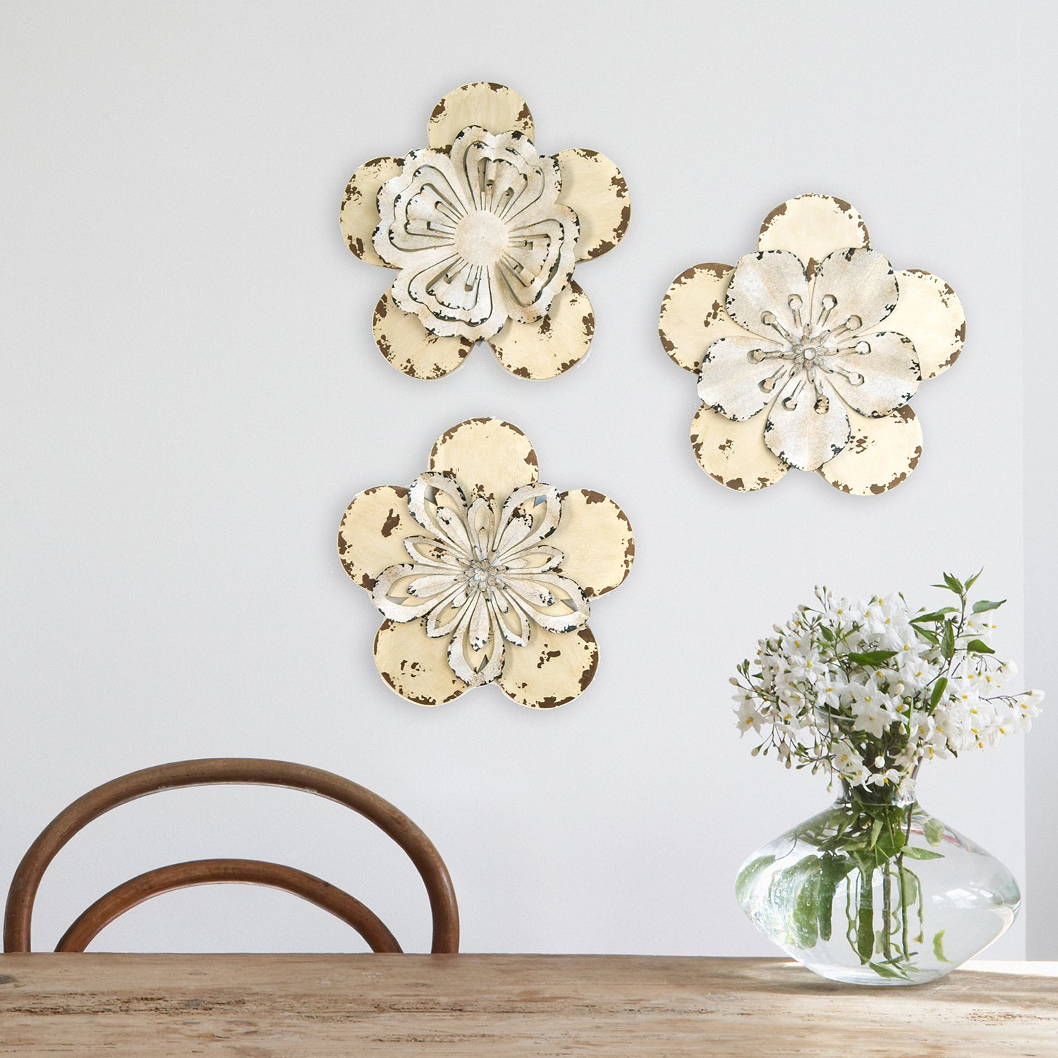 Trendy Metal Flower Wall Decor (Set Of 3) Inside Shop Stratton Home Decor 3 Piece Set Rustic Flowers Wall Decor (Gallery 13 of 20)