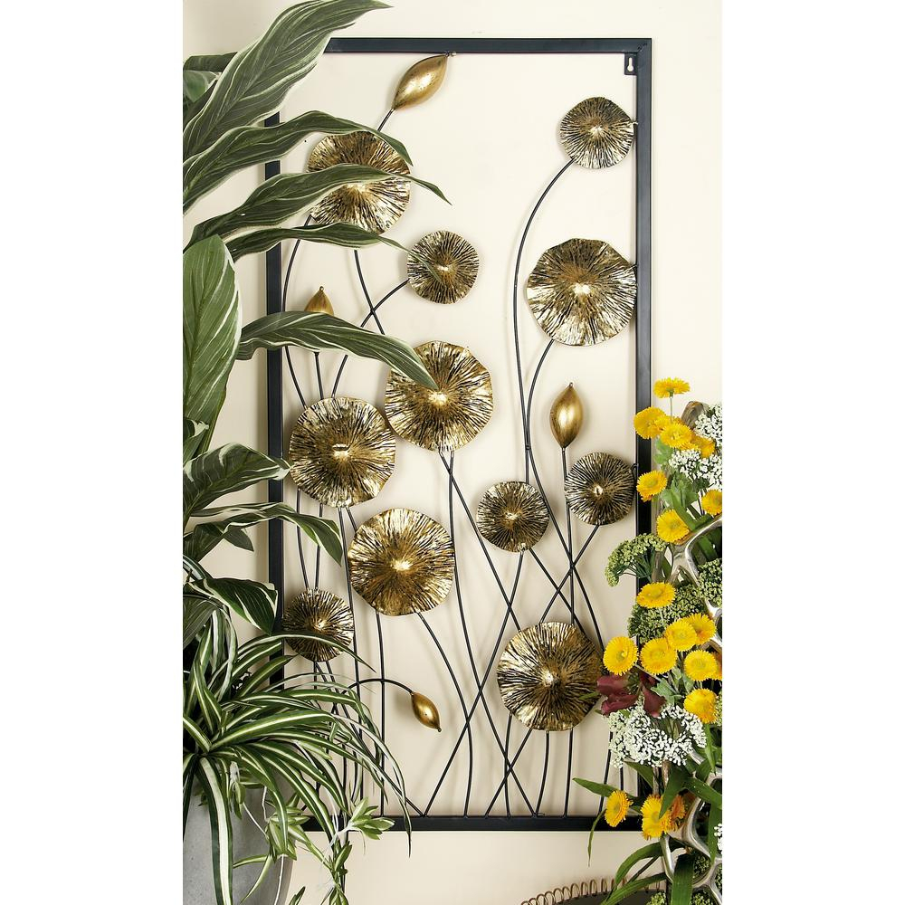 Trendy Metal Flower Wall Decor (Set Of 3) Intended For Litton Lane Iron Gold And Black Framed Flowers And Buds Triptych (View 17 of 20)