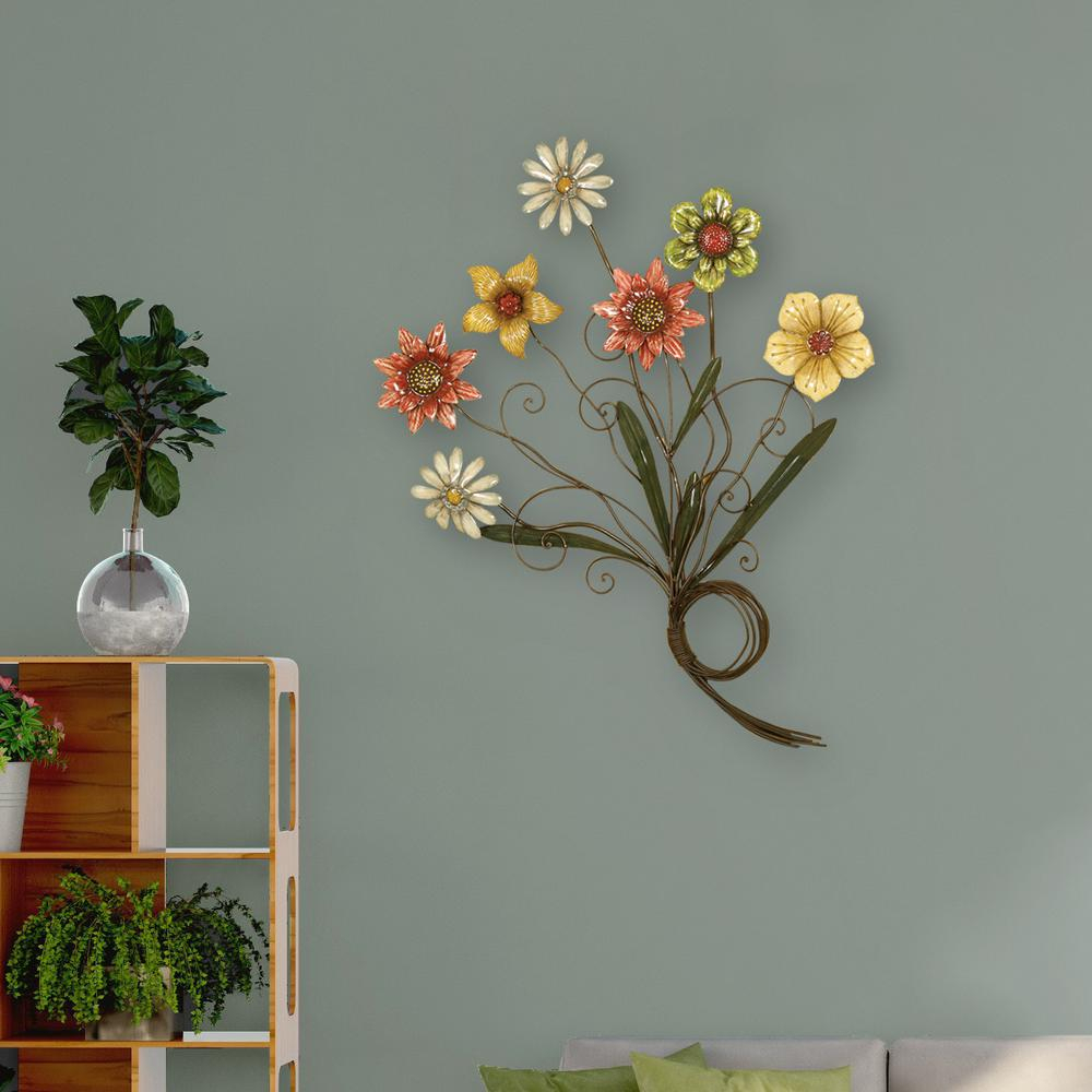 Trendy Oil Rubbed Metal Wall Decor Within Multicolored Flower Metal Work Wall Decor 2169 – The Home Depot (View 19 of 20)