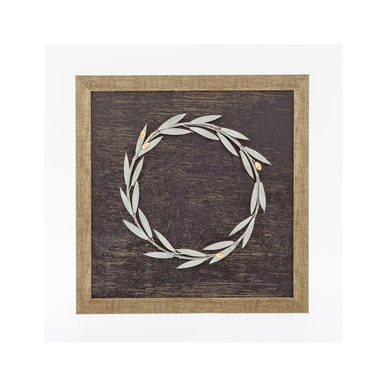 Trendy Olive/gray Metal Wall Decor For Olive Wreath 3D – Wood & Metal Handmade Wall Framed Artwork (Gallery 13 of 20)