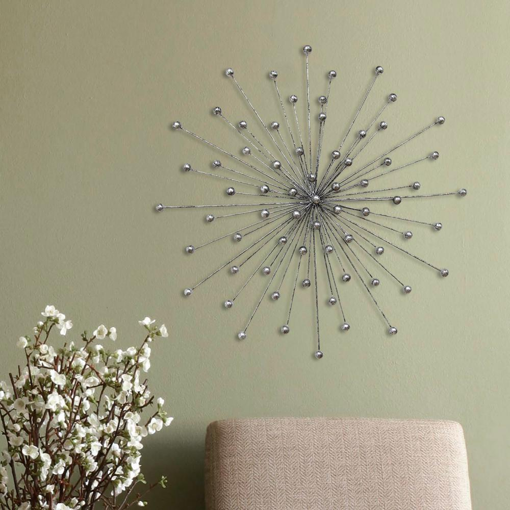 Trendy Stratton Home Decor Stratton Home Decor Silver Burst Wall Decor For 3 Piece Acrylic Burst Wall Decor Sets (set Of 3) (View 16 of 20)