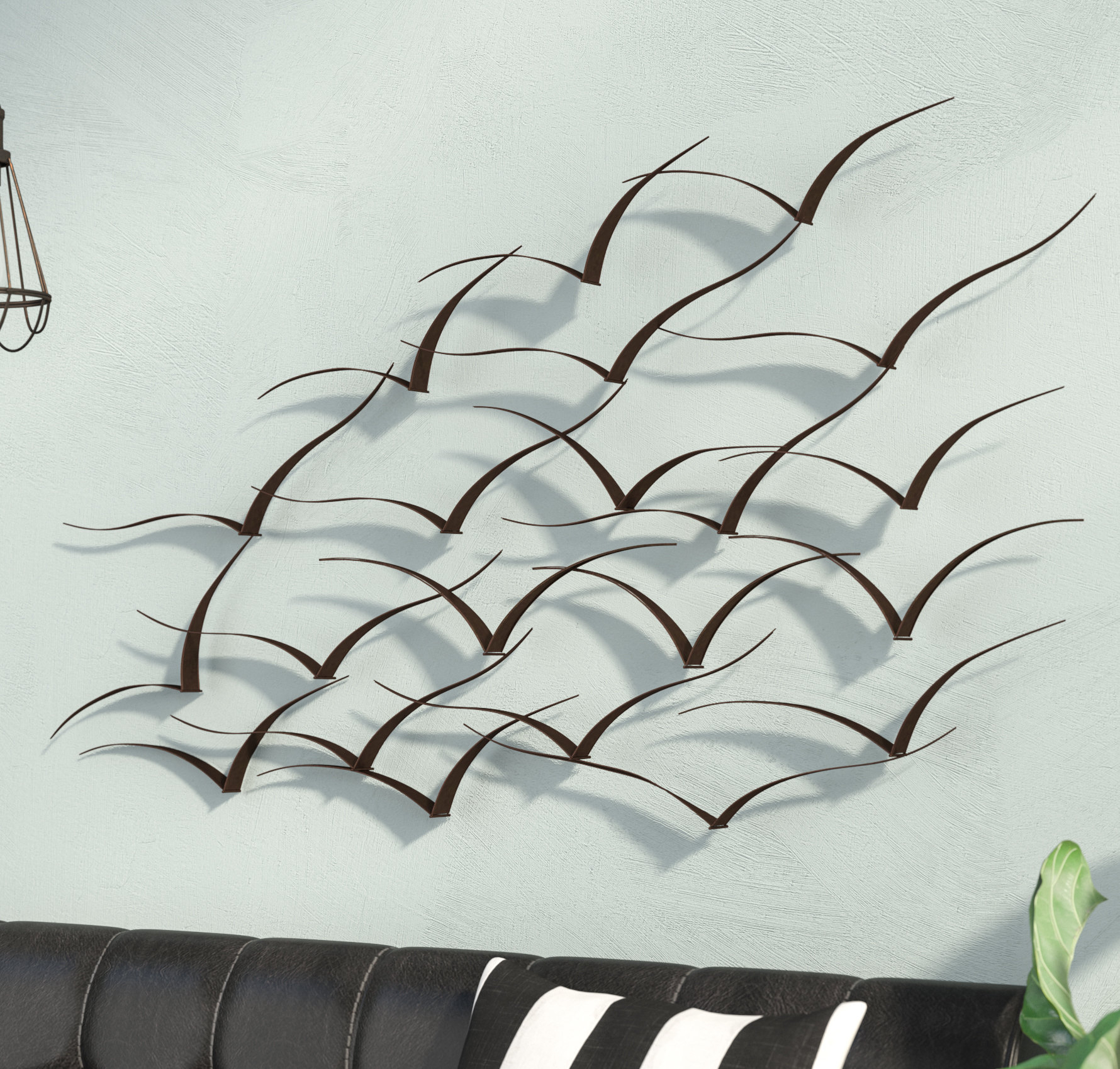 Trent Austin Design Handcrafted Flock Of Birds Metal Art Wall Décor Within Latest Metal Leaf Wall Decor By Red Barrel Studio (View 8 of 20)