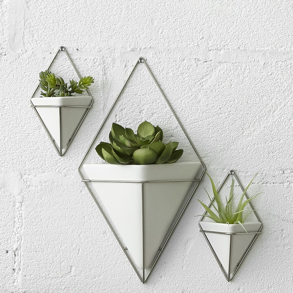 Trigg Ceramic Planter Wall Decor For Well Liked Buy Umbra Trigg Wall Planter – White/nickel (Gallery 19 of 20)