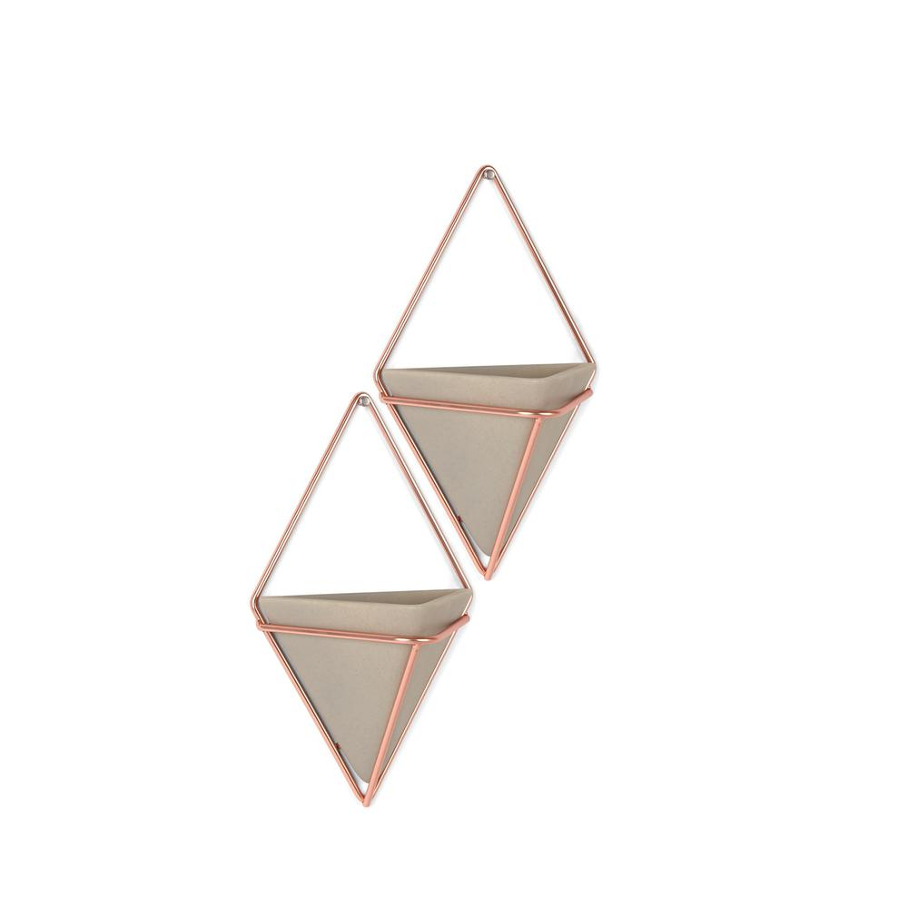 Trigg Ceramic Planter Wall Decor With Fashionable Umbra Trigg Wall Display 2 Small Concrete/copper Cement Planter (View 6 of 20)