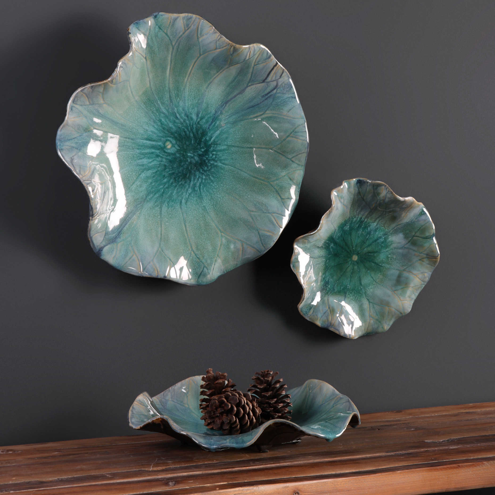 Uttermost Abella Ceramic Wall Decor S/3 Throughout 2020 3 Piece Ceramic Flowers Wall Decor Sets (Gallery 11 of 20)
